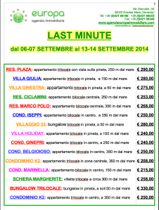 REAL TIME: LAST MINUTE SETTEMBRE